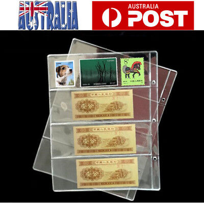 10X Paper Money Banknote Holders Album 4 Pockets Pages Sleeves Storage Note AU