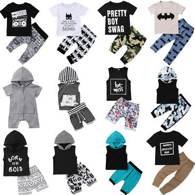 2pcs Baby Boy Hooded T-shirt Tops+Pants Outfit Toddler Kids Summer Clothes Set