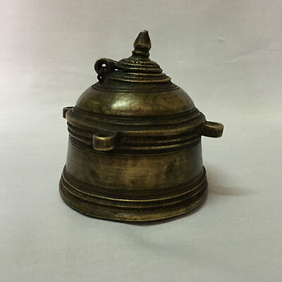 18th C old or antique Engraved solid Brass Ink Well Pot decorative Shape early