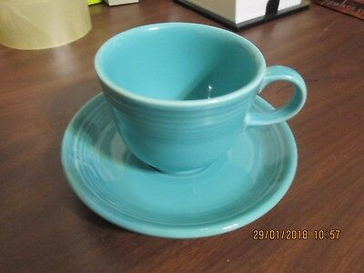 Fiesta Ware Coffee Cup & Saucer Turquoise Homer Laughlin  Marked