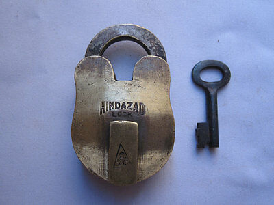 old antique vintage brass padlock lock with key rich patina small cute size