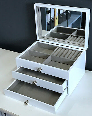 NEW 2 DRAWERS WOODEN JEWELLERY GIFT BOX IN GLOSSY FINISH LARGE 6819011 WHITE 2k