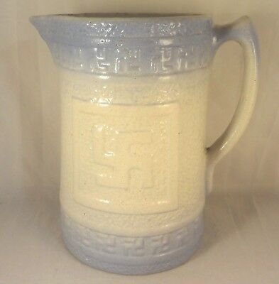 McCOY Pottery GOOD LUCK Swastika PITCHER Friendship Blue & White Pre 1938