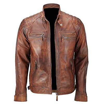 Men's Classic Diamond Quilted Biker Waxed Brown Slim-fit Leather Jacket All Size