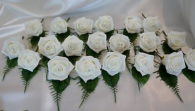 30 White Rose Crystal Wedding Buttonhole Package