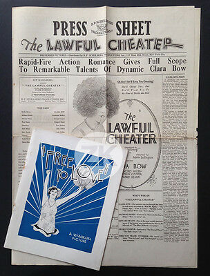 CLARA BOW Free to Love IT GIRL The Lawful Cheater O'CONNOR Movies 2 Docs 1925