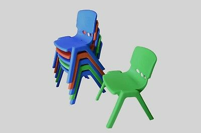 Set of 4 Brand New Kids Toddler Plastic Chair Green Blue Red High Back Comfort