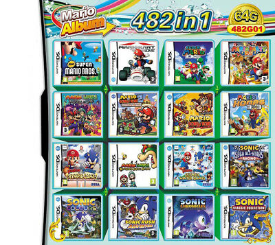 482 in 1 NDS Games Cartridge Mario Multicart for NDS NDSL NDSi 3DS 2DS LL/XL