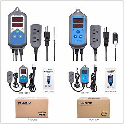 Inkbird Thermometer Set Temperature & Humidity Controller ITC306T + IHC-200 110V