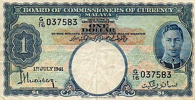 1941BOARD Of COMMISSIONERS of CURRENCY MALAYA $1 scarce view PICTURE G/16 037583