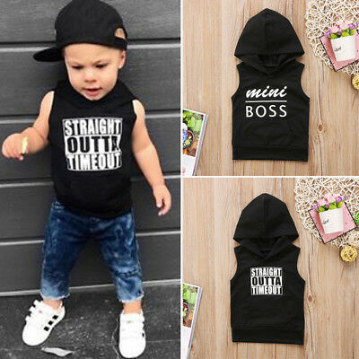 Sleeveless Toddler Baby Boys Hooded Tops Hoodie T-shirt Sweatshirt Size 0-4T