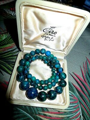 Lovely graduated green blue hardstone  necklace