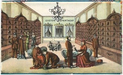 Victorian Chromo Card Showing the Interior of a Shoe Store