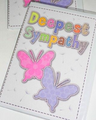 FEMALE SYMPATHY CARDS JUST 28p x12, FINE TEXTURED BOARD,-WRAPPED, 'STITCHES'