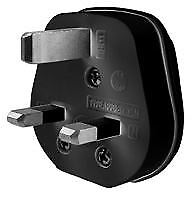 13A 3 Pin Impact Resistant Plug Top Black