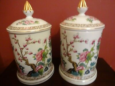Pair Of Porcelain Indian Tree Design Candy Jars.