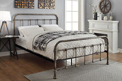 Black Metal Bed Frame Bronze Finish Vintage Victorian Single Double King Sizes