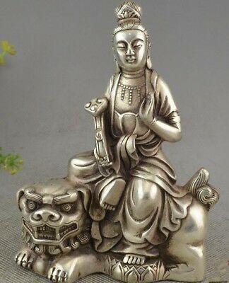 Collection of hand-carved white copper - Manjusri Patron Saint and the lion