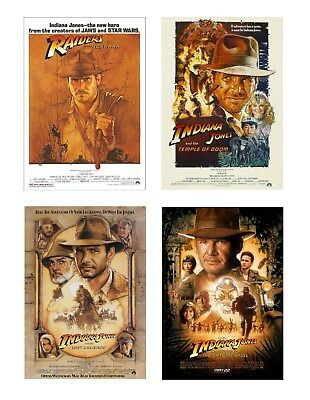 VINTAGE CLASSIC Indiana Jones  Movie Posters A4 Size Film Cinema Wall Decor Fan