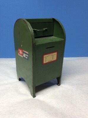 Vintage Military Green Postal Mail Letter Box Coin Bank w/ Flip Down Door