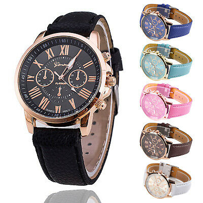 Ladies Women Mens Girls Analog Quartz Wrist Watches Trendy Leather Strap