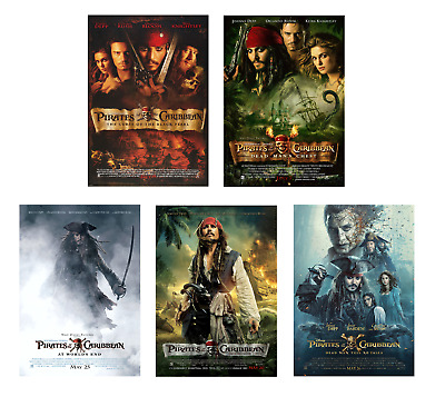 VINTAGE Pirates Of The Caribbean Movie Posters A4 Size Film Cinema Wall Decor