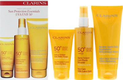 Unisex Clarins Sun Care Wrinkle Cream/Milk-lotion/After Sun Moisturizer Gift Set