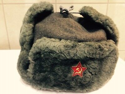 Russian Soviet Red Army and Police Winter Hat Fur-Cap USHANKA uniforms WW-2