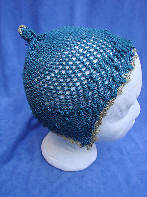 Vintage Edwardian Knit Cap Blue  Yarn Childs Baby Hat Cap