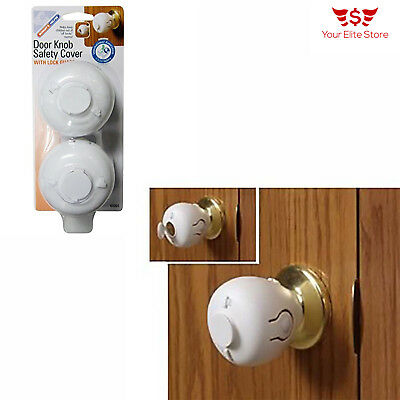 Child Door Knob Safety Cover Proof Safe Children Lock Guard Kids Toddler 4 Pack
