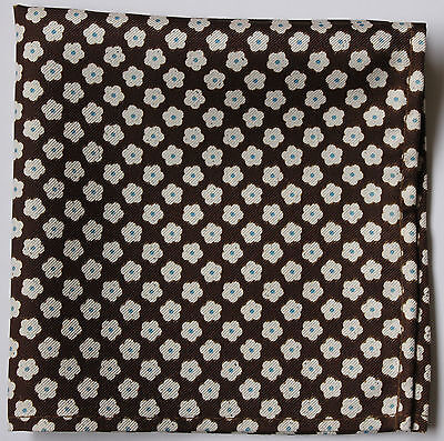 Brown & white Daisy silk pocket square handkerchief 30cm hand made.