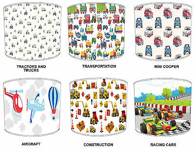 Transportation Lampshades Ideal To Match Children`s Transportation Pillow Cases.