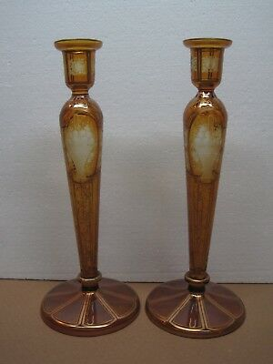 Antique Bohemian Amber Etched Candlesticks Baskets Of Flowers With Gold Trim