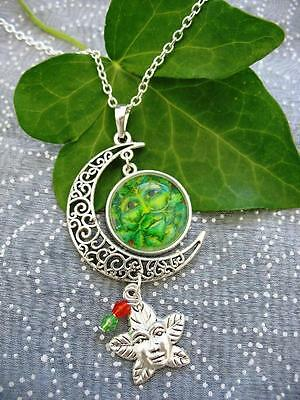 Green Man Necklace Pagan Wicca Moon Fantasy Silver Pendant Celtic Tree Sacred