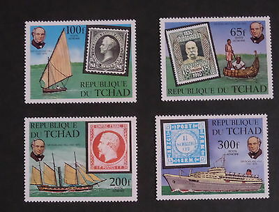 Chad 1979 Death Cent Rowland Hill SG578/81 ship boat MNH UM unmounted mint