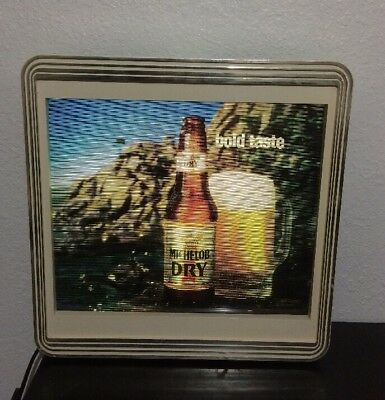 Vintage 1989 Michelob Dry Beer Hanging Frame Lighted Sign Changes to 3 Scenes