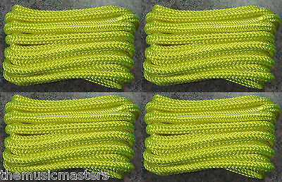 "(4) Yellow Double Braided 3/8"" x 20' ft Boat Marine HQ Dock Lines Mooring Ropes"