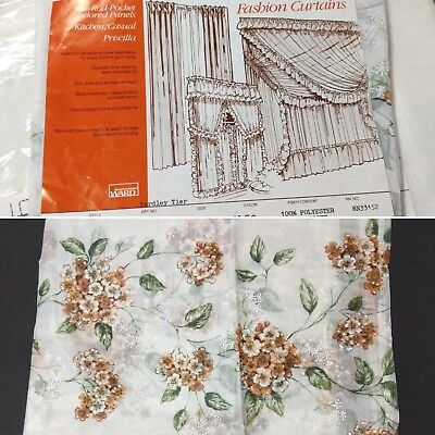 "Vintage Curtains 70s Floral Print Sheer Swag Tier 60"" Long Set of 7 in Package"
