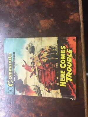 1. very old Commando war comic. 1054 Here Comes Trouble