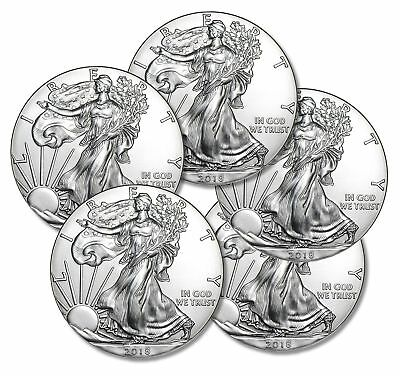 FIVE (5) 2018 1 oz. American Silver Eagles, .999 Silver, Gem BU w/ No Marks!