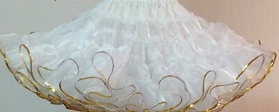 White Crystal Petticoat With Gold  Sequins  By Evas Petticoats