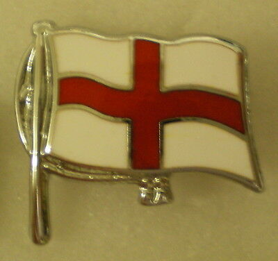 ST GEORGES FLAG DESIGN - RUGBY UNION or FOOTBALL Enamel Pin Badge on chrome