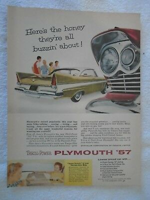 J21 1957 Plymouth Print Ad Magazine Advertisement Back O'Keefe Ale