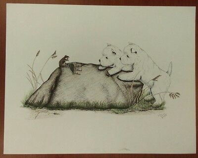 WEST HIGHLAND TERRIER Westie Pencil Drawing Print Signed Judy Young 1988