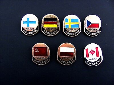 7 1986 USSR Soviet Russia Ice Hockey World Championship Pin Badge Lapel Set