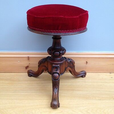 Antique Victorian Piano Stool Seat Mahogany Carved Swivel Top Old Vintage.
