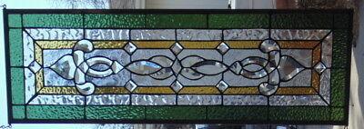 Stained Glass window Transom  hanging 34 X 11 1/2