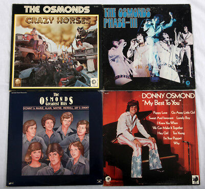 The OSMONDS / DONNY OSMOND on Vinyl 4 albums -  Phase III, Crazy,..  BEAUTIFUL !