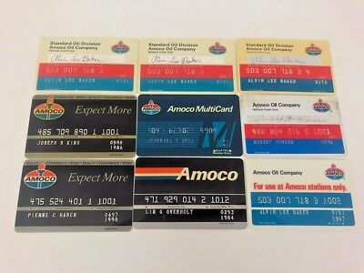 Lot of 9 Vintage Gas Oil Credit Charge Cards Amoco Standard Oil Company N9