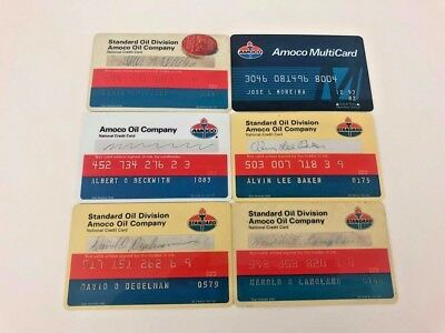 Lot of 6 Vintage Gas Oil Credit Charge Cards Amoco Standard Oil Company N8
